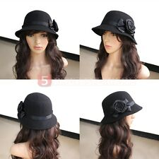Black Stylish Women Lady Vintage Elegant Cloche Flower Rose Bucket Hat Headwear