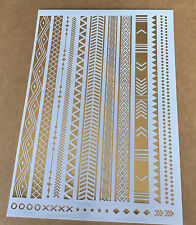 1 pcs Long golden retro pattern Temporary Metallic Tattoo Gold Silver Flash cool