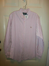 NWT NEW RALPH LAUREN CLASSIC FIT LARGE 16 1/ 2 34 35 PINK BLUE Stripe Shirt