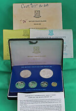1976 6 Coin British Virgin Islands Proof Set W/Box Papaerwork Birds COA Lot of 6
