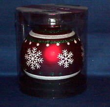 """4 """" ROUND GLASS CHRISTMAS ORNAMENT STENCIL SNOWFLAKES & STRIPES MUST SEE"""
