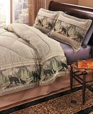 3-Pc Bear Wildlife King Comforter Set Pillow Shams Rustic Bed Bedroom Decor
