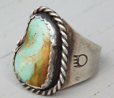 Early 1940's Old Pawn Royston Turquoise Sterling Silver Bear Paw Ring Sz 11.5