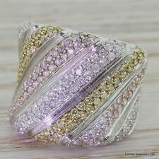 FUNKY 1.82ct NATURAL WHITE, YELLOW AND PINK DIAMOND BOMBE RING - 18k White Gold