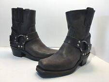 FRYE Women's Engineer Harness Motorcycle Leather Gray Ankle Boots, Size 6 1/2