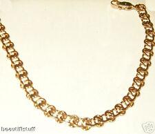 "1/4"" Inch Man Men's Bracelet Bike Knot Link Chain 18k Yellow GOLD gep USA"