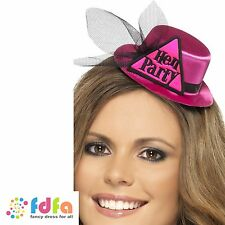 BLACK & PINK HEN PARTY HAT WITH VEIL & CLIP ladies womens bride to be