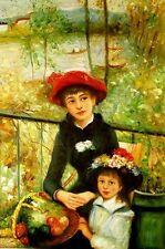 "Auguste_Renoir  reproductions  Oil Painting -Two Sisters On the Terrace -24""x36"""