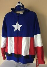 MARVEL* CAPTAIN AMERICA Zip Up Hoodie Mask * Red White & Blue Costume Size XL