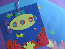 Greeting Card, Birthday Boy, Girl, Child, Kids, Submarine, Fish, Ocean, Handmade