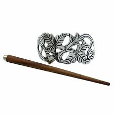 Metallic Barrette Hairs Accessory Indian Women Hand Carved Beautiful Hair Clip