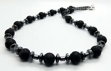 Mens Necklace Lava Hematite Beads Beaded Choker Handmade Jewellery By TaKuKai UK
