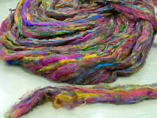 Recycled Sari Silk Fiber Carded Sliver Form Multicolor Exclusive for Spinning