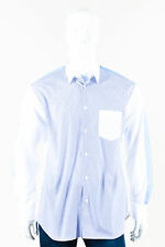 MENS Comme des Garcons SHIRT Light Blue White Striped LS Button Up Shirt SZ L
