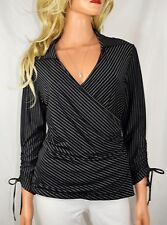 ANNE FONTAINE PARIS Effleure Black & White Striped Crossover Top Blouse   Size 4