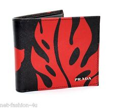 PRADA MILANO SAFFIANO HIBISCUS BI FOLD LEATHER WALLET 100% AUTHENTIC BNWT BOX