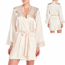 New LINEA DONATELLA Cassandra Elegant Satin Lace Short Wrap Robe Large XL Blush