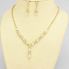 Gold and Clear Rhinestone Evening Necklace Set