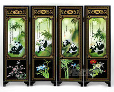 Beautiful Chinese Lacquer Painting Folding 4 Panda Screen pattern