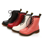 Fashion Women Round Toe Lace Up Combat Punk Ankle Boots Mid Calf Flat Heel Shoes
