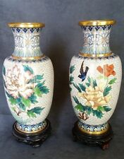 "CLOISONNE VASES Chinese ENAMEL Handmade w/ FLOWERS & BIRD 8"" Original STICKERS"