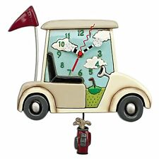"Allen Designs ""Stay The Course"" Golf Cart Whimsical Pendulum Wall Clock"