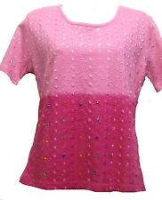 NWT SACRED THREADS ombre pink sequined embroidered knit COTTON TOP XL free shipp