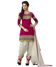 Patiala Indian Designer cotton dress material- 3857 Pink
