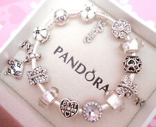 Authentic Pandora Silver Bangle Bracelet with European charms White Love.