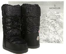 NEW MONCLER BLACK LEATHER QUILTED NYLON SNOW WINTER LOGO BOOTS 35/36/37