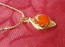 Brigid Necklace Gold Tone, Carnelian Cornelian Gemstone July Birthstone NOS
