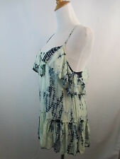 GREEN BLUE TIE DYE FREE PEOPLE WOMENS LAYERED RUFFLE ADJ HALTER NECK TOP SZ S