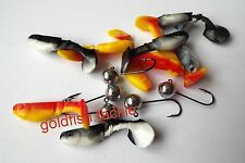 10 Micro Kopyto Shads with jig heads - drop shot lures for pike, perch, zander