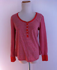 Victoria's Secret 1/2 Button Long Sleeve Top Red & White Striped Size L