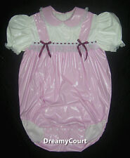 ADULT SISSY BABY GIRL ONESIE BABY PINK PVC ROMPER NIGHT SLEEPER 02