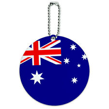 Australia National Country Flag Round Luggage ID Tag Card Suitcase Carry-On