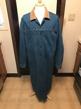 1980s LEVI'S Denim Duster Coat Trench Overcoat Western Large EUC Free Shipping