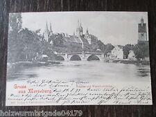 alte Ak Gruss aus Merseburg Schloss mit Waterloobrücke gelaufen 1899