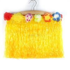 Adult Kid Hawaiian Hula Grass Skirt Wristband Party Dress Costume Yellow Fashion