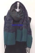 Women Blanket 100% Cashmere Scarf Wrap Shawl Plaid Gray/navy blue/green #B05