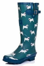 WOMENS FUNKY FLAT FESTIVAL WELLIES WELLINGTON WATERPROOF RAIN BOOTS SIZES UK 4-8