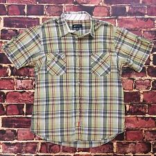 Paul Frank Short Sleeve Shirt M Medium Plaid Hipster Snap Front Retro Button Tee