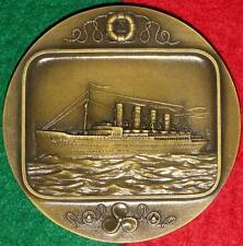 BOATS / FAMOUS BOATS / ENGLISH  RMS LUSITANIA BRONZE MEDAL BY J. ALVES