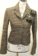 Zara Women Blazer Tweed Brown W Floral Brooch Metal Lined Wool Cropped Jacket