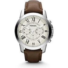 FOSSIL MEN'S 44MM BROWN LEATHER BAND STEEL CASE QUARTZ BEIGE DIAL WATCH FS4735