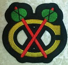 "Chicago Blackhawks Big NHL Logo 4"" Iron On Embroidered Patch ~USA Seller~"