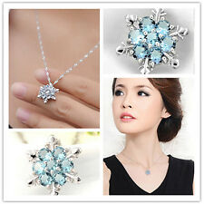 Charm Lady Valentine's Day Crystal Snowflake Frozen Flower Necklace Pendant Gift