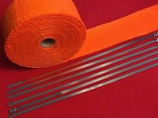 "Orange Exhaust Pipe Header Fiberglass Heat Wrap 6 Tie Car Motorcycle 10MX2""Wide"