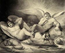 GRAVURE ANNEE 1855 ANGES HOMMES NUS NUDE LARGE ANTIQUE PRINT FLATTERS ANNEE 1855