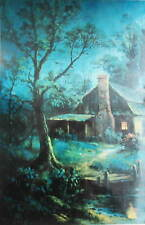 Moon Light House Vintage Art